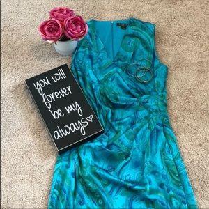 Ralph Lauren blue/green paisley silky dress